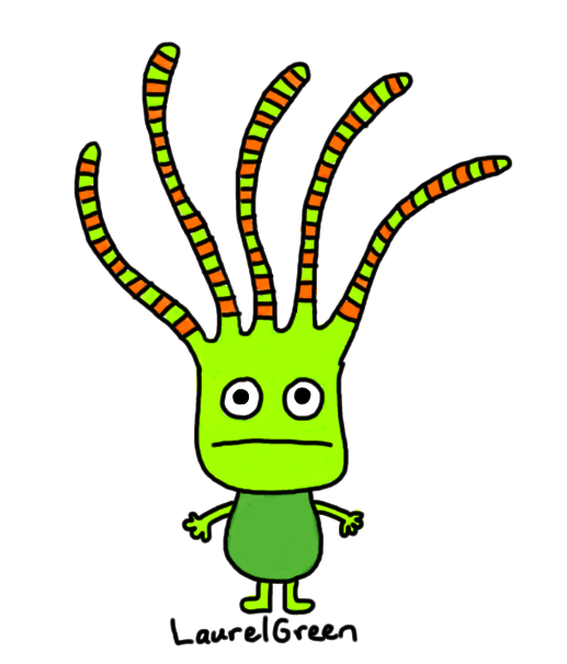 a drawing of a person with stripy tentacles growing out of their head