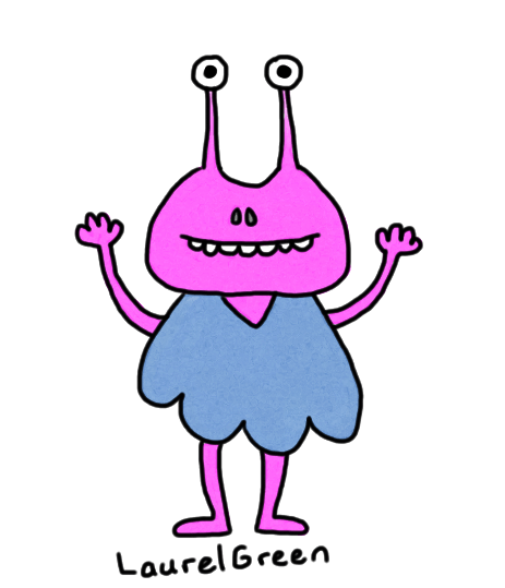a drawing of a happy alien