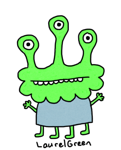 a drawing of an alien with three eyes