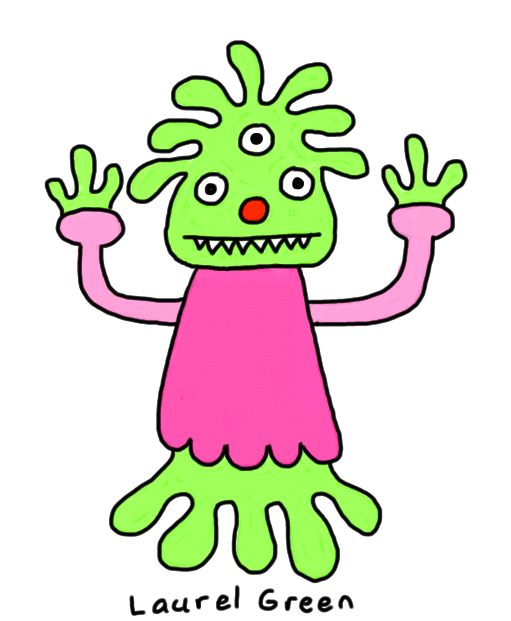 a drawing of a three-eyed alien