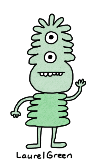 a drawing of a lumpy guy with vertical eyes