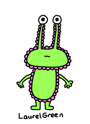 a drawing of an alien covered in pink lumps