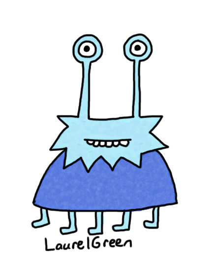 a drawing of a blue creature