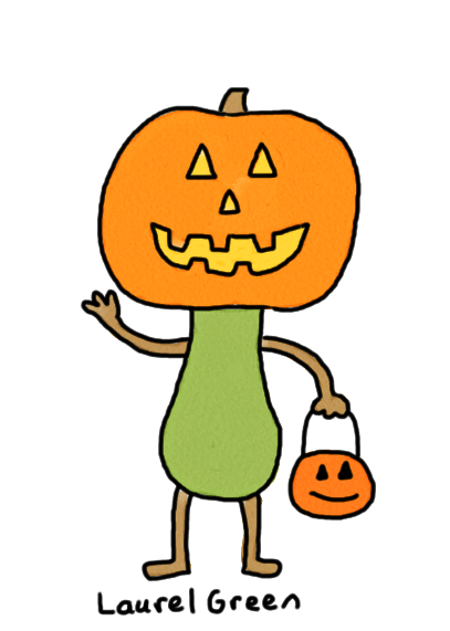 a drawing of a jack o'lantern person