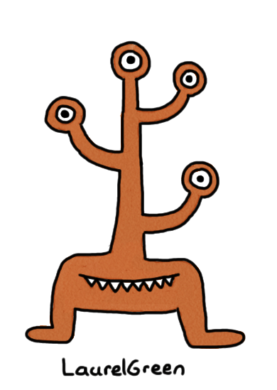 a drawing of a coat rack monster