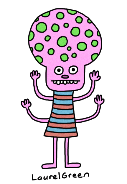 a drawing of a person with four arms and a very large head