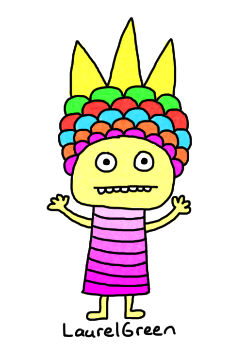 a drawing of a person wearing a fancy headdress