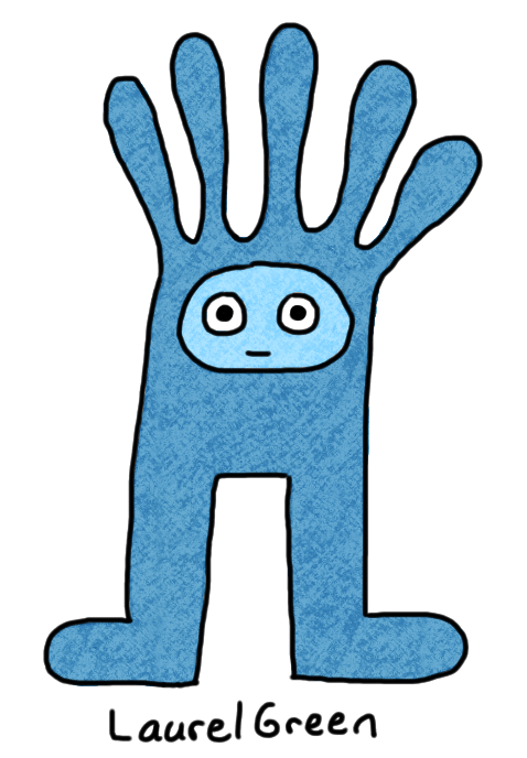 a drawing of a blue critter
