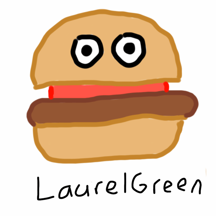 A drawing of a hamburger with eyes