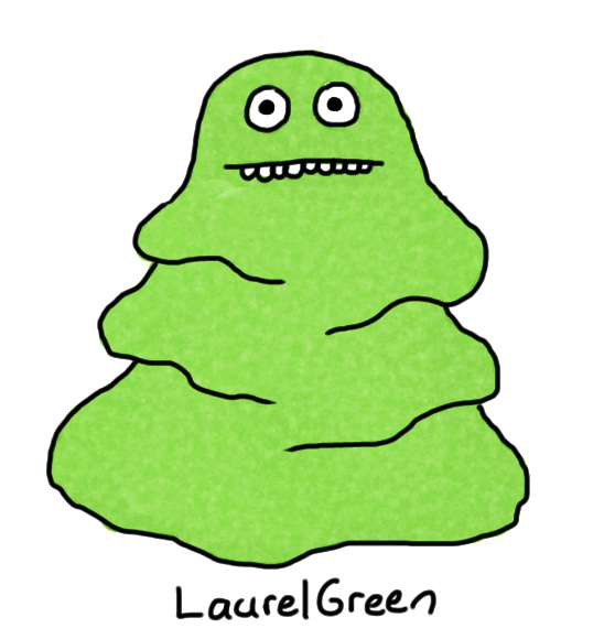 a drawing of a green blob