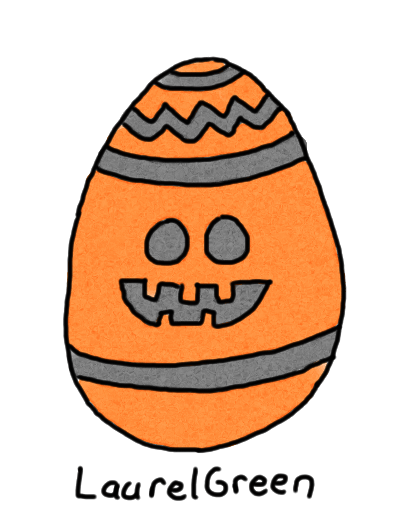 a drawing of an orange halloween egg