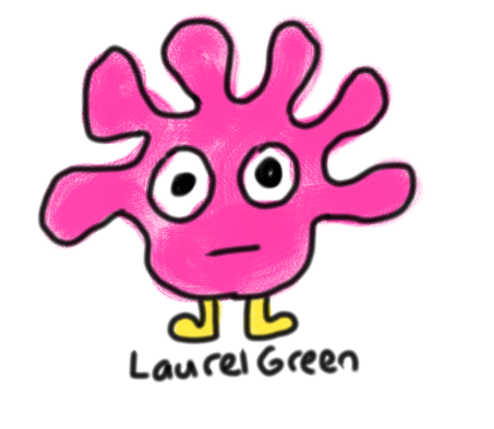 a drawing of a little pink critter