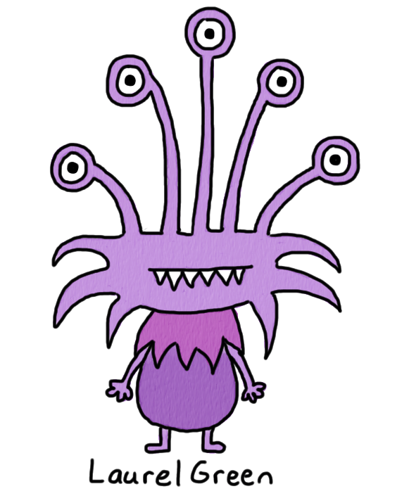 a drawing of a furry, purple monster with five eyes and fangs