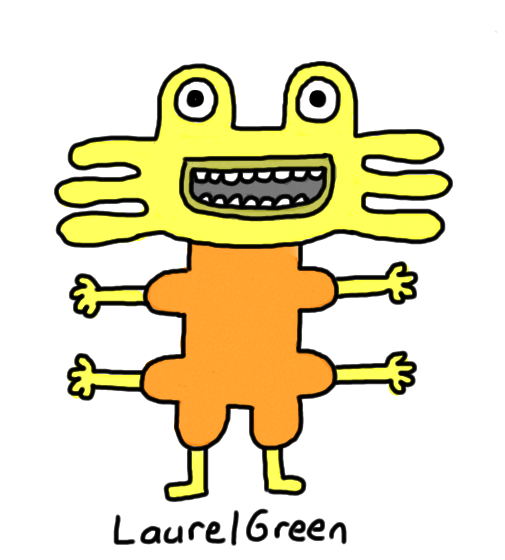 a drawing of a creature with four arms