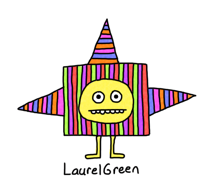 a drawing of a spiky critter covered in colourful stripes