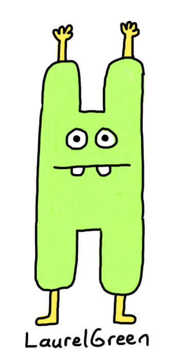 a drawing of a monster with a body in the shape of an h