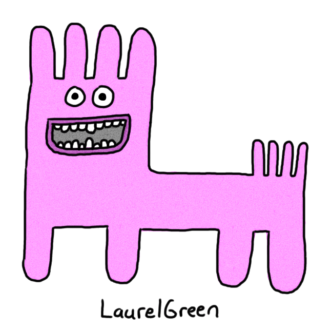 a drawing of a weird purple quadruped