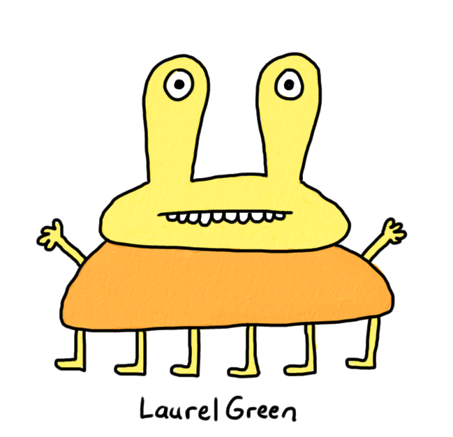 a drawing of an orange creature with six legs