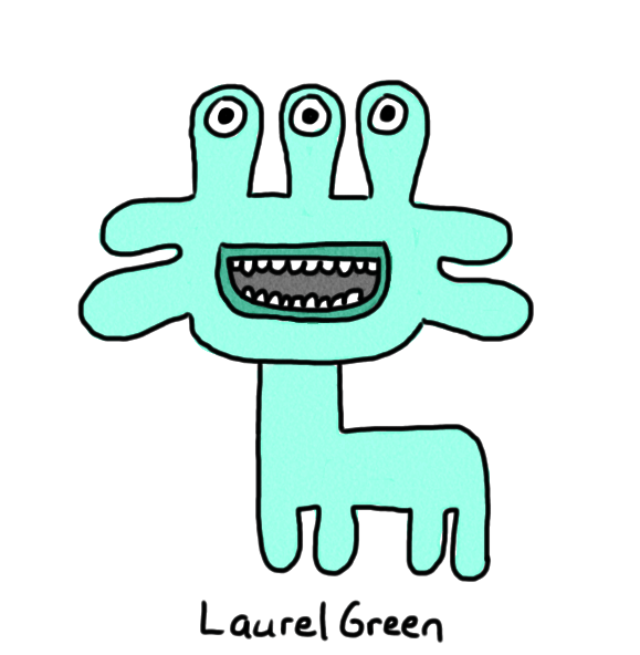 a drawing of a quadrupedal creature with three eyes