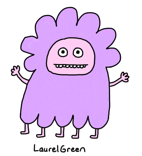 a drawing of a purple creature with five legs