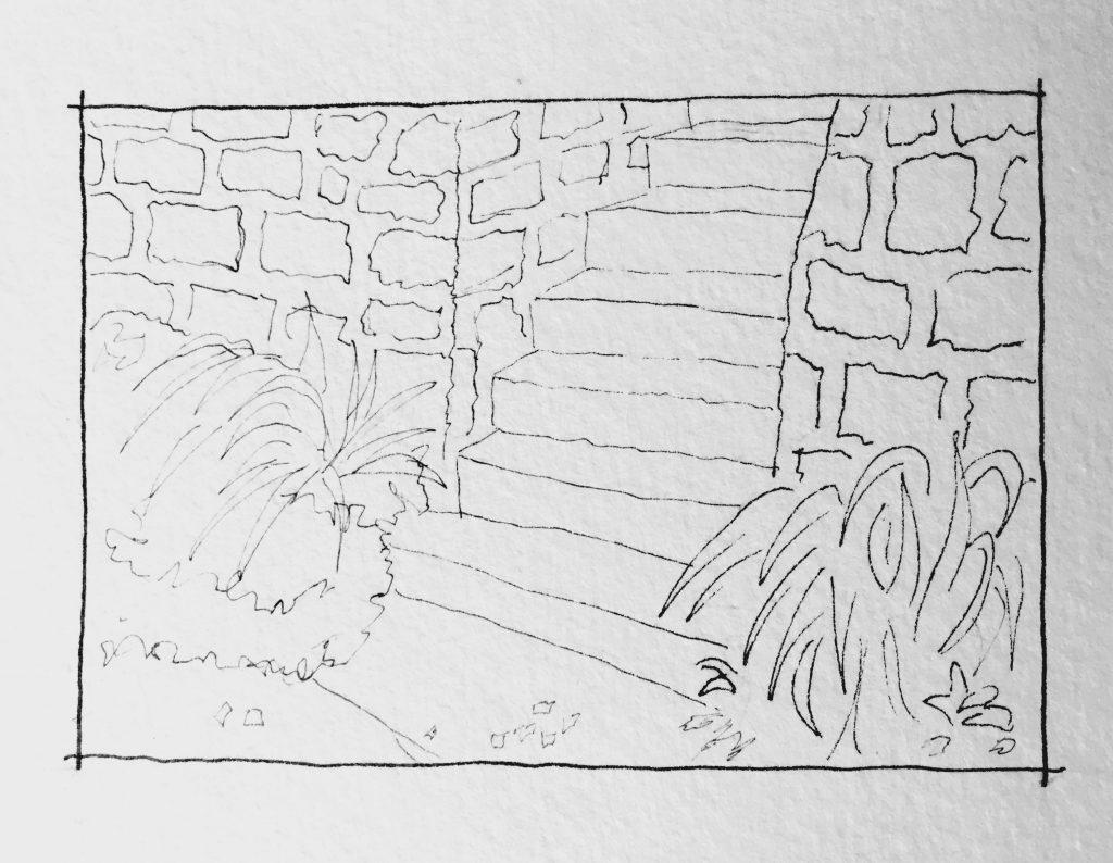 Stone Stairs Urban Sketching Kansas City Doodlewash