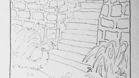 Stone Stairs Urban Sketching Kansas City Doodlewash