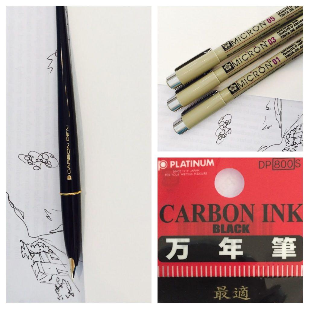 Sakura Micron Pens and Fountain Pen Doodlewash