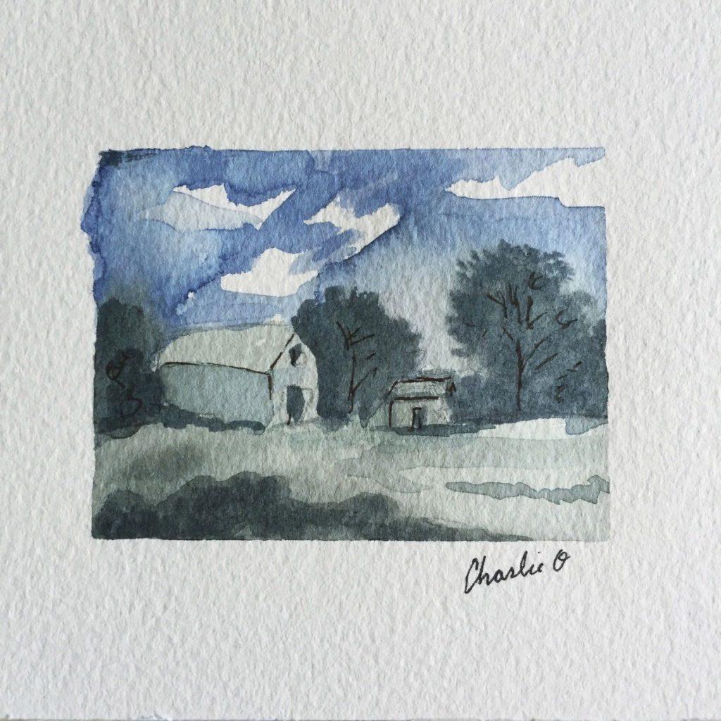 House Landscape Watercolor Doodlewash