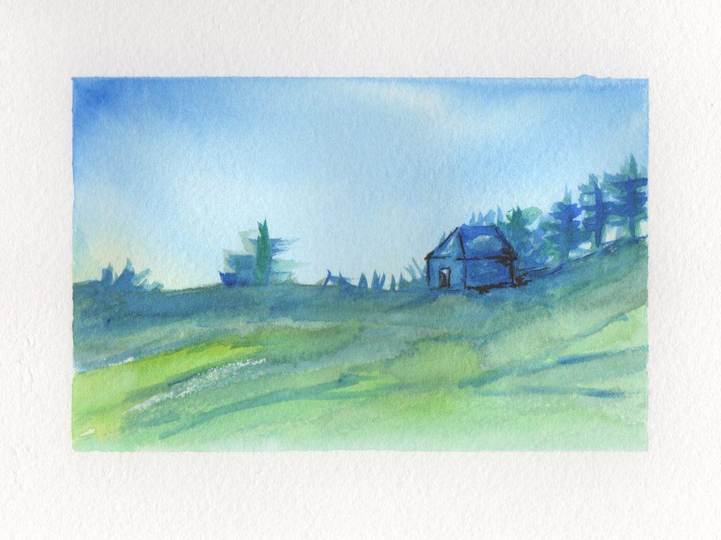 Strange Little House Watercolor Landscape Painting Doodlewash