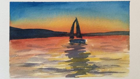 Evening Sailboat Watercolor Painting Doodlewash