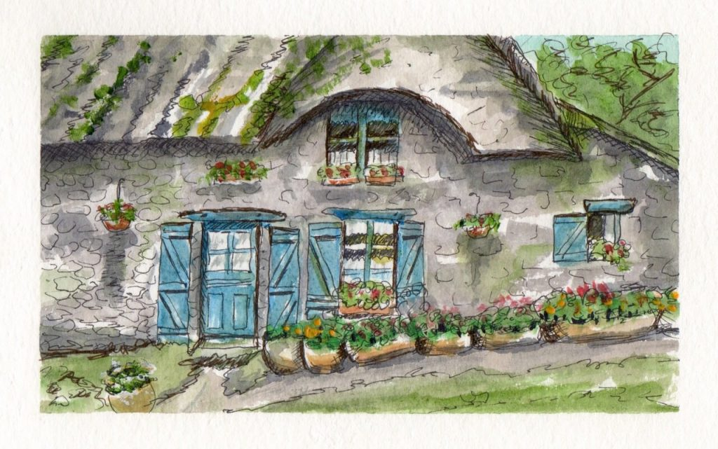 French Cottage Watercolor Doodlewash