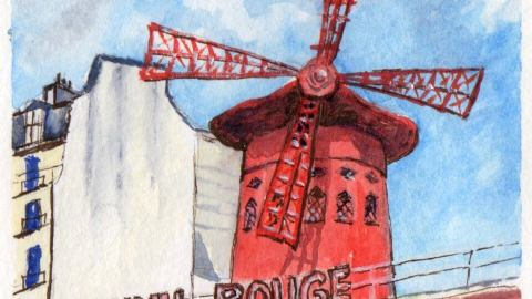Le Moulin Rouge Aquarelle Watercolor