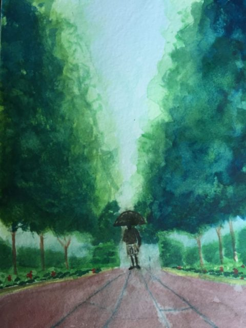 Watercolor Painting Park Scene