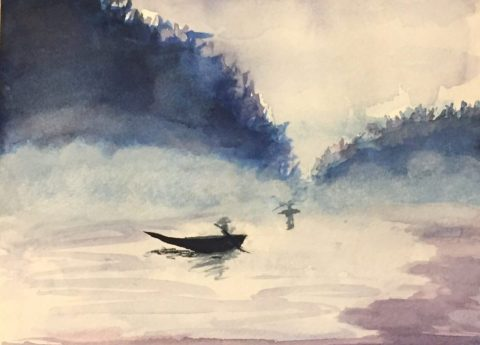 Watercolor Painting Fishing Boat
