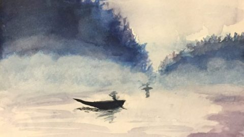 Watercolor Painting Fishing Boat