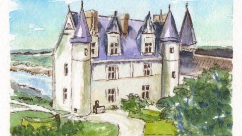 Château d'Amboise Watercolor Painting Aquarelle