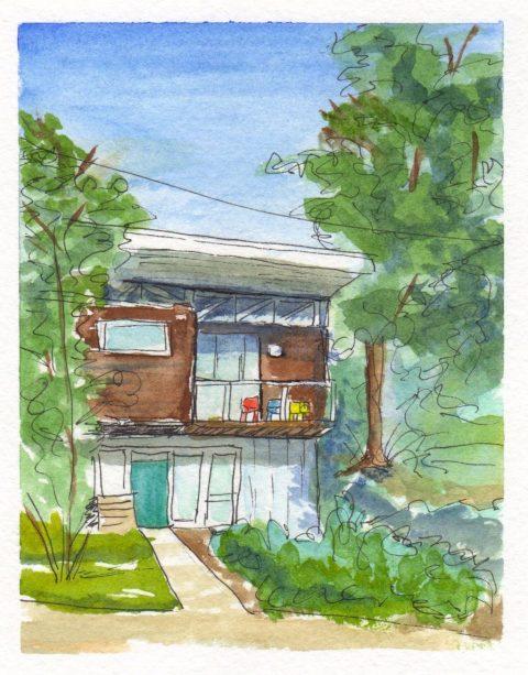 Loose Sketching Watercolor House