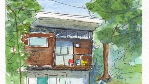 Loose Sketching Watercolor House