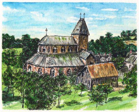 Abbaye bénédictine Notre-Dame, Lonlay-L'Abbaye Watercolor by Charlie O'Shields