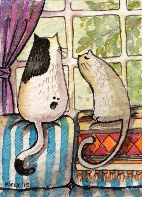 Cats On A Couch by Kyly Sheldon