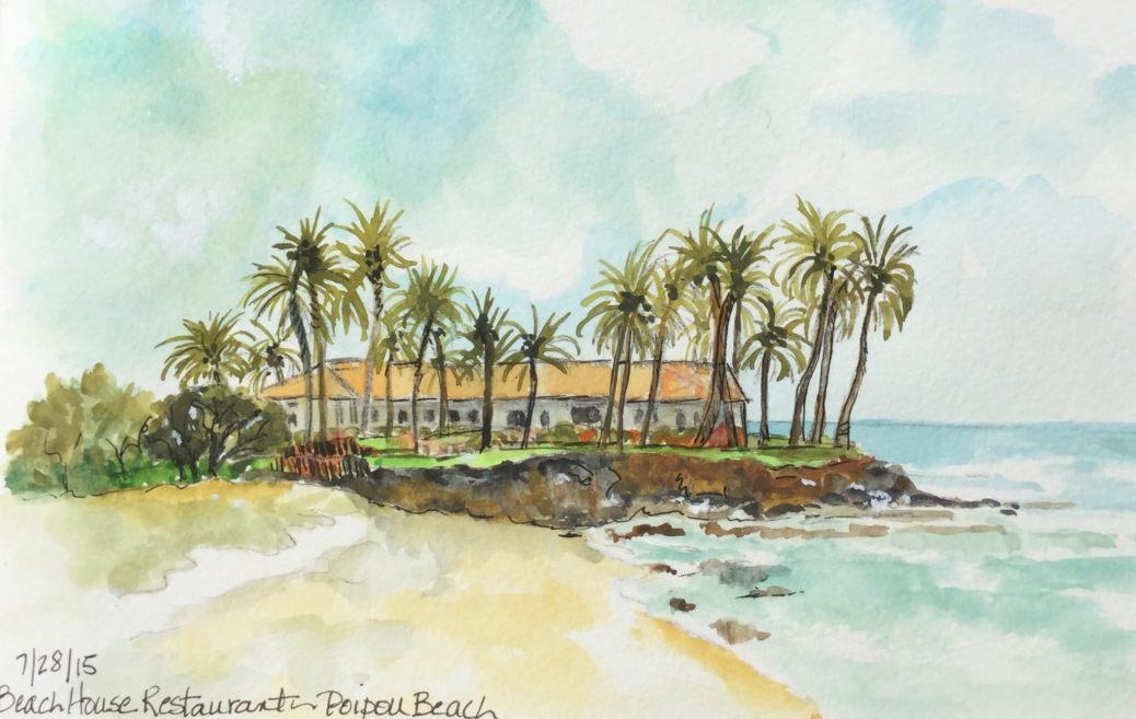 Beach House Watercolor by Carol Jurczak