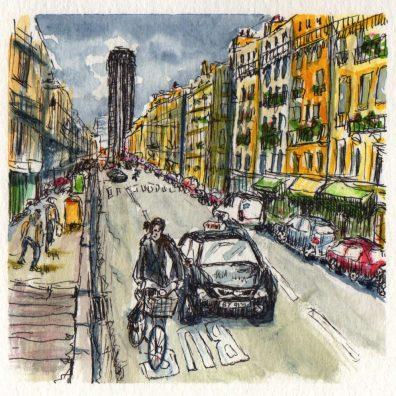 Montparnasse, Paris Watercolor Painting Aquarelle