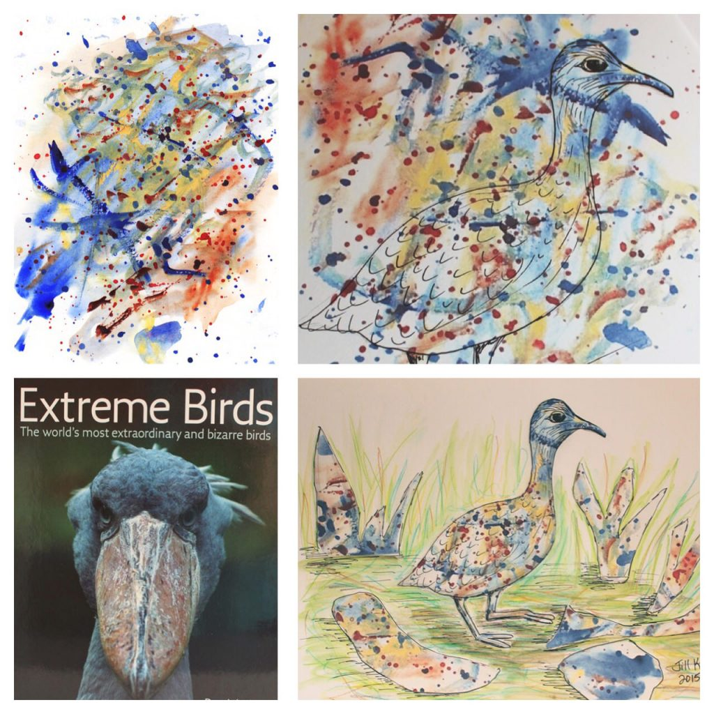 Exotic Birds Watercolor by Jill Kuhn