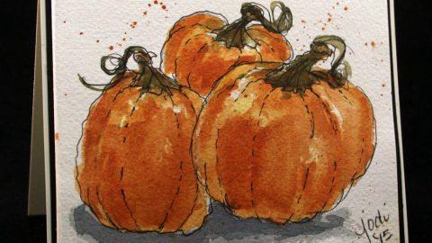 Pumpkins Doodlewash Card by Jodi McKinney