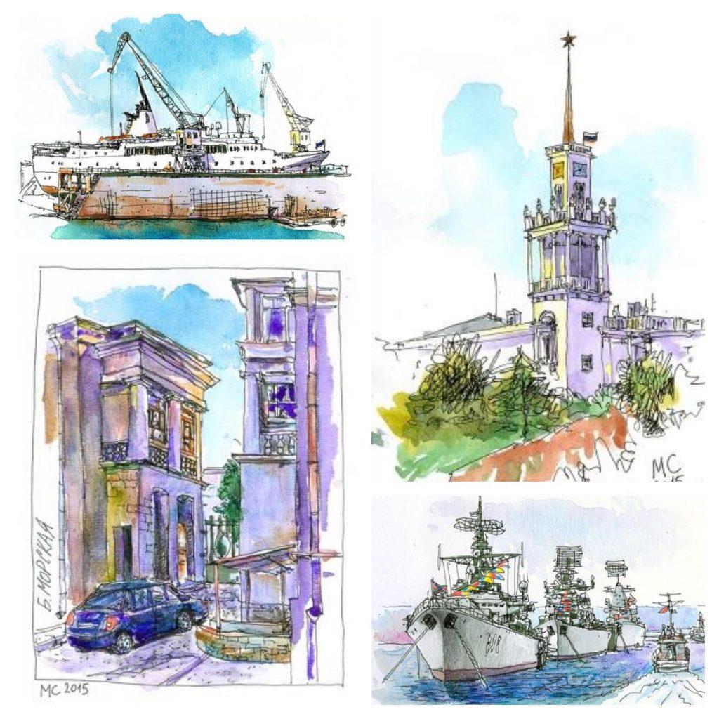 Watercolor Urban Sketching by Sergei Merkulov