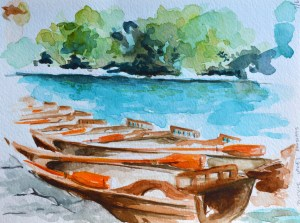 Croatia Plitvice Lakes Rowboats by Elizabeth Brunsmen