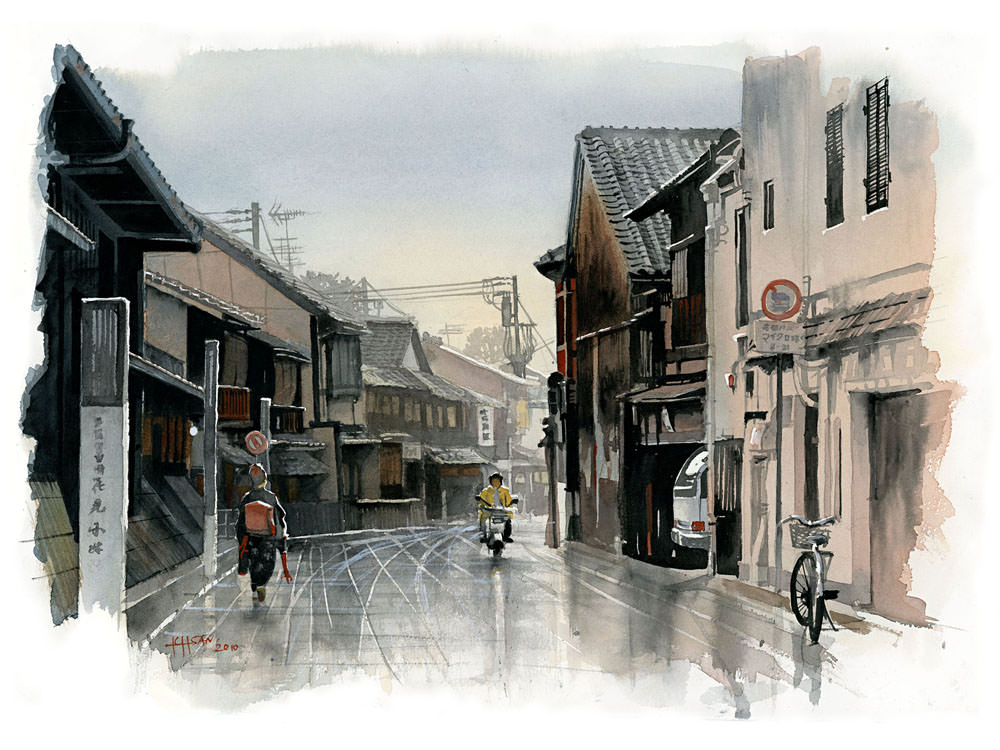 Autumn Rain, Hanamikoji-dori by Ichsan Harja (doodlewash)