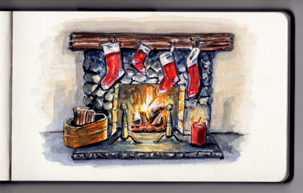Christmas Fireplace by Charlie O'Shields - Doodlewash