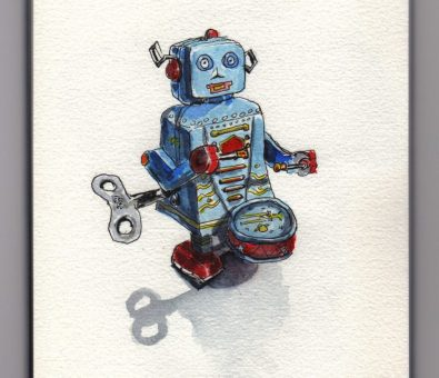 Tiny Toy Robot Doodlewash by Charlie O'Shields