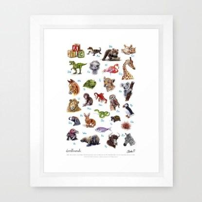 Doodlewash ABC Animals Framed Print by Charlie O'Shields